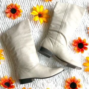 Life stride off white leather calf length boots